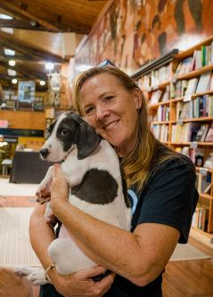 Cara Sue Achterberg with pup